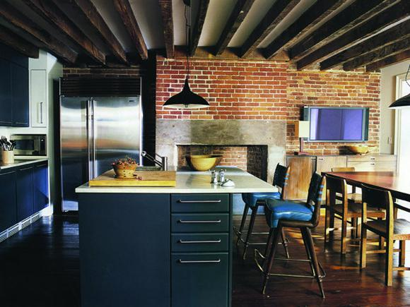 מטבח בלופט ניו יורקי - שילוב של ישן וחדש.